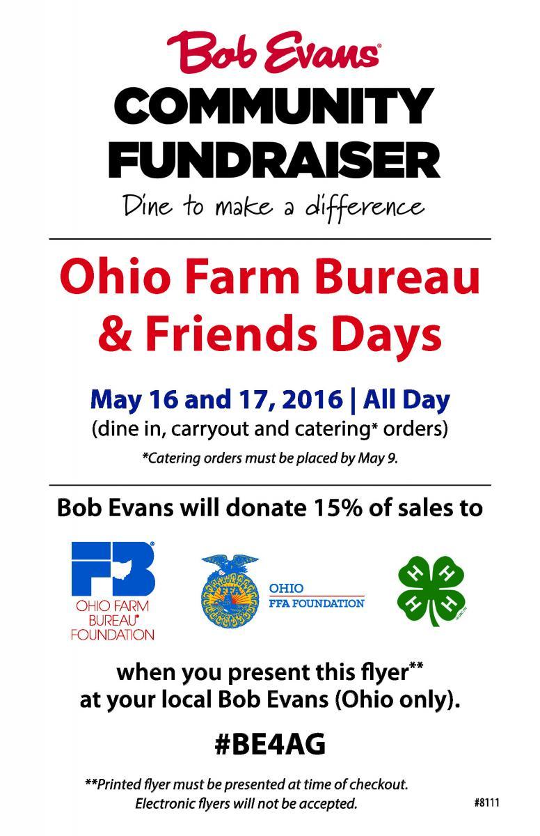 Bob Evans Community Fundraiser flyer