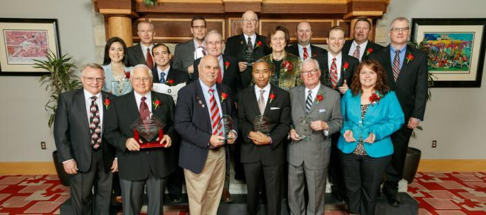 2016 Alumni Awards recipients and Acting Dean Ron Hendrick