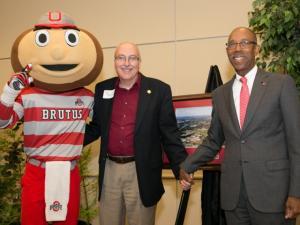 Brutus Buckeye, State Rep. Ron Amstutz and President Drake