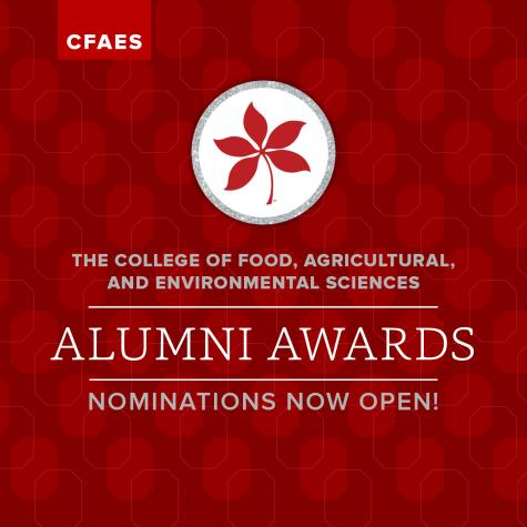 Red graphic with buckeye leaf and language saying The College of Food, Agricultural, and Environmental Sciences Alumni Awards Nominations now open!
