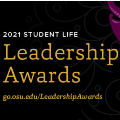 Black background with text that reads 2021 Student Life Leadership Awards