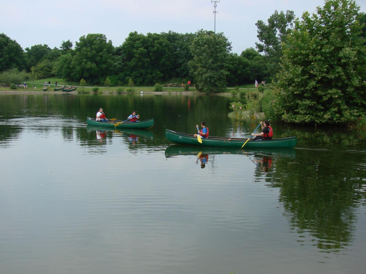 Canoes at Chadwick Arboretum Open House.