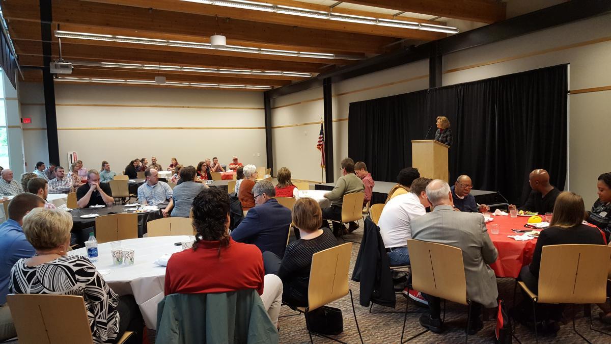 Dean Kress addressing guests at Senior Send-Off