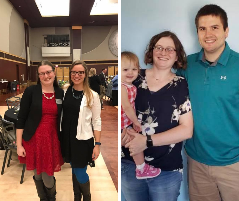 Berger with her friend, Emily their final year in CFAES and Now with her husband, Brandon and daughter Bernadette
