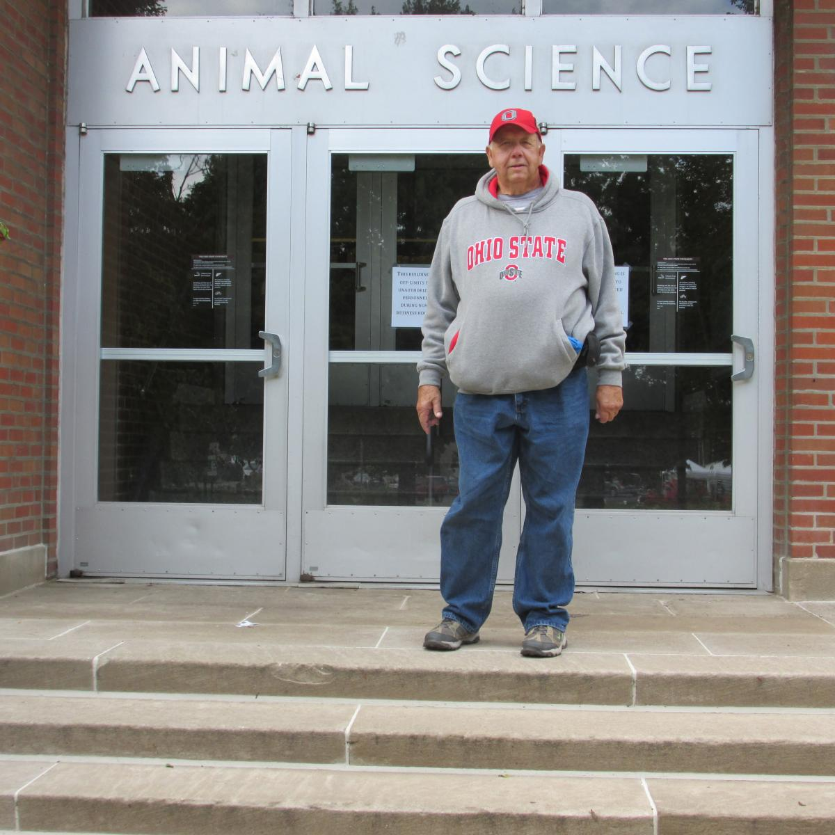 Mike Simpson in front of the Animal Science building in 2016