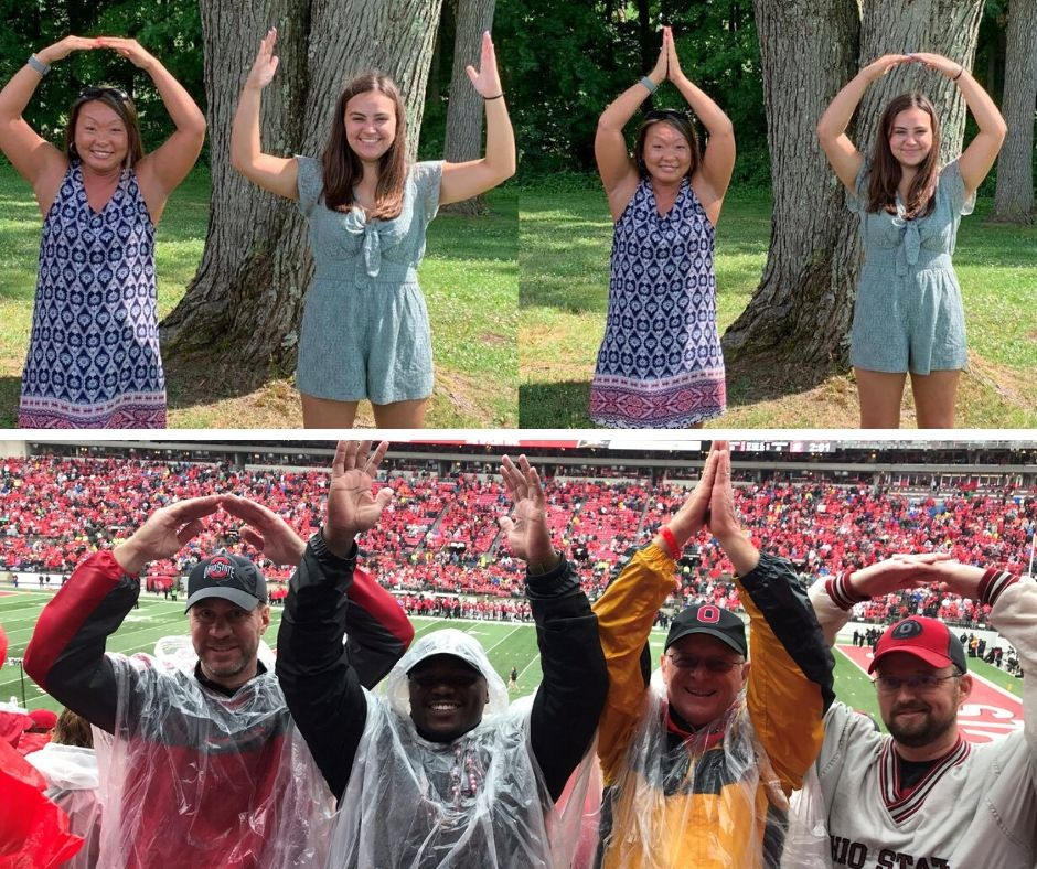 Ohio State staff, alums, and current students all love taking O-H-I-O photos!