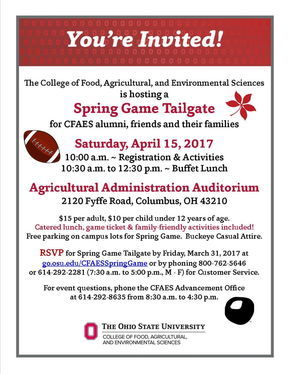 You're Invited to the Spring Game Tailgate April 15