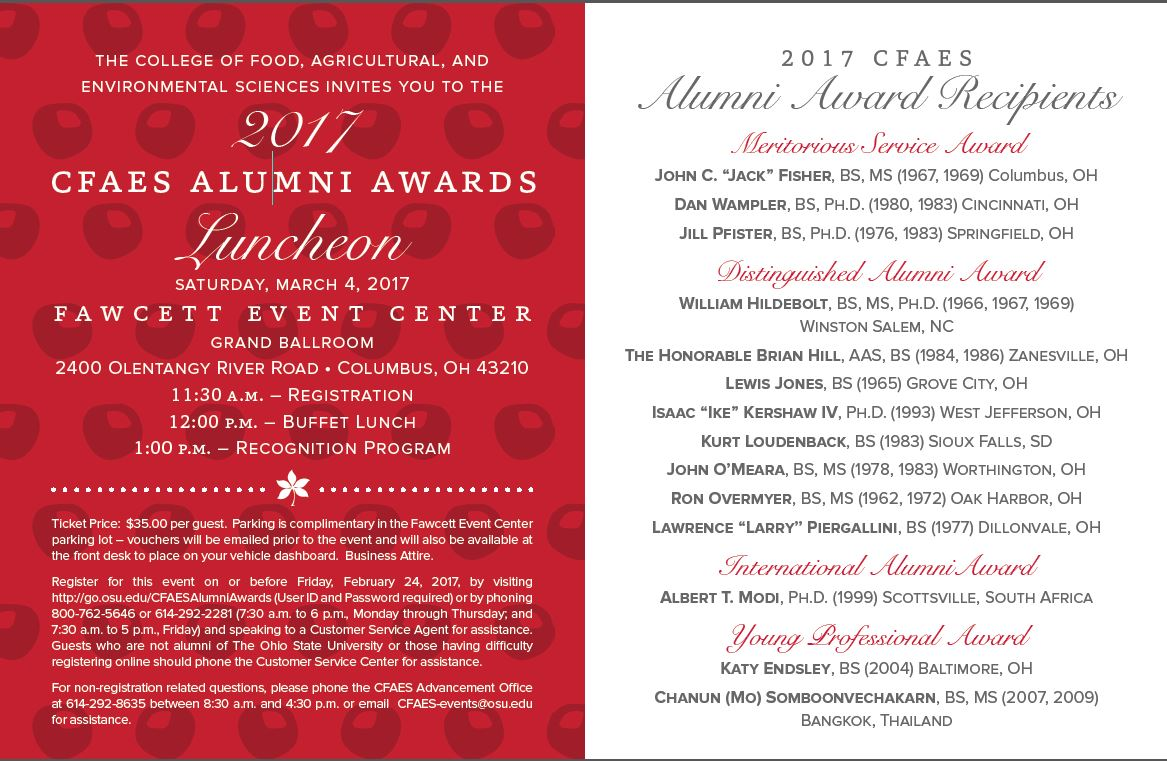 CFAES Alumni Awards Luncheon 11:30 a.m. March 2, 2017 at the Fawcett Event Center