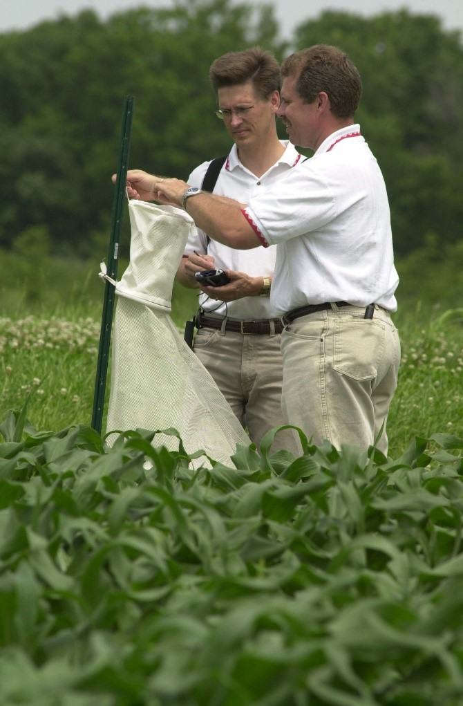 Two scientists working on agronomics in a field