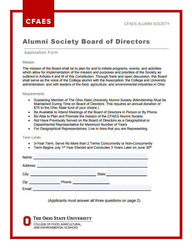 Alumni Society Board of Directors application form