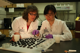 Researchers in a lab at Parker