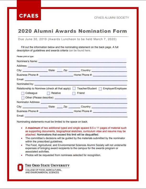 2020 Alumni Awards Nomination Form