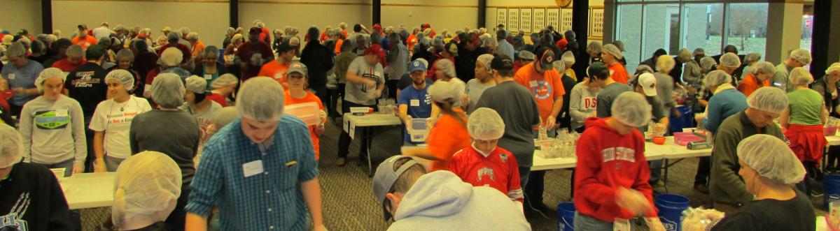 Hundreds of volunteers gathered for Stop Hunger Now.