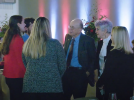 Sharon and Stan Joehlin talking with students at the 2019 Fall Scholarship Dinner