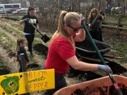 Volunteers working at Highland Youth Garden