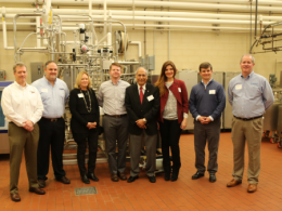 Pictured, from left, are Chris Purvis, AGC Heat Transfer; John Piganelli, Fristam Pumps; Beth Kloos, OCS Process Systems; Joe Woodard, Rockwell Automation; Valente Alvarez, CFAES; Carla Guzman, Tetra Pak; Parker Burke, Anderson-Negele and Neil O'Connor, Pentair.