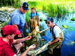 Marc Kibbey guides his ichthyology students along Lake Erie's shores