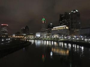 Downtown Columbus at night overlooking Scioto River