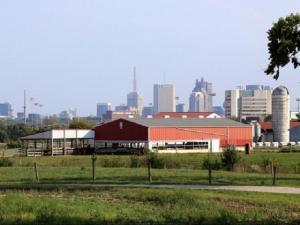 Waterman Agricultural and Natural Resources Laboratory with the Nationwide building and the rest of the Downtown skyline.