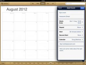 Calendar of events with smartphone app