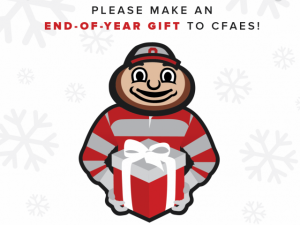 Brutus is holding a present. Please make an end-of-year gift to CFAES.
