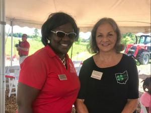 Director of Franklin County Extension, Dr. Laquore Meadows with Patricia Brundige, longtime volunteer and donor who gave in memory of her parents.