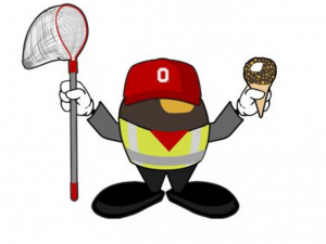 The CFAES Buckeye icon from Day of Giving is holding a net and a Drumstick!