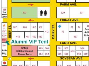 The Alumni VIP tent is at the corner of Beef Street and Land Avenue