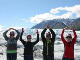 A family of CFAES alums at Alaska's Matanuska Glacier