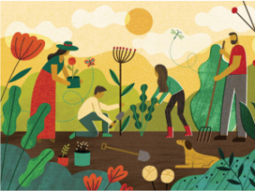 Illustration depicting individuals working in a garden.