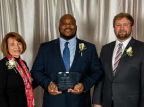 Dean Cathann A. Kress, recipient Clifford Greer, Nick Rettig