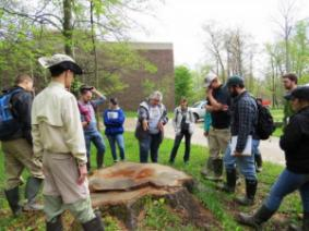 Students learning about counting tree rings with OSU Extension Forestry Program Director Kathy Smith.
