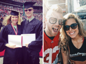 Amy Jo (Frost) Baughman, CFAES Director of Alumni Engagement and Annual Giving with her husband Brett, ENR Scholars Coordinator Then and Now
