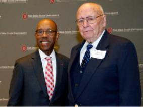 OSU President Michael V. Drake with Professor Herbert W. Ockerman
